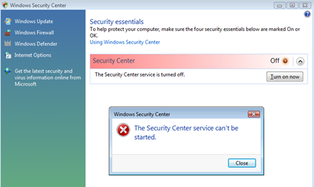 Windows Security Center can't be started