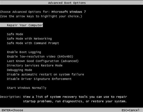 Windows F8 Screen