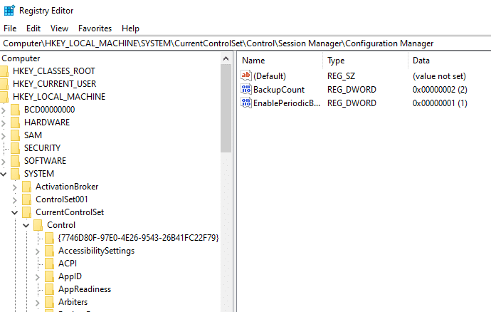 Windows 10 Automatic Registry backup disabled by Microsoft